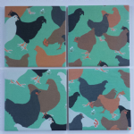4 Ceramic Coasters in Emily Burningham Chickens